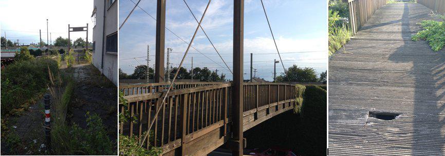 Altersschwache Holzbrücke an der Polizeiwache Troisdorf