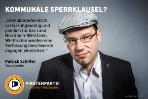 Patrick Schiffer, Vorsitzender der Piratenpartei NRW, zur Einführung einer kommunalen Sperrklausel - Foto: CC-BY NC ND be-him